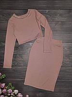 Подростковый костюм топ+юбка-карандаш  для девочкиразмер 8-12 лет, цвет капучино