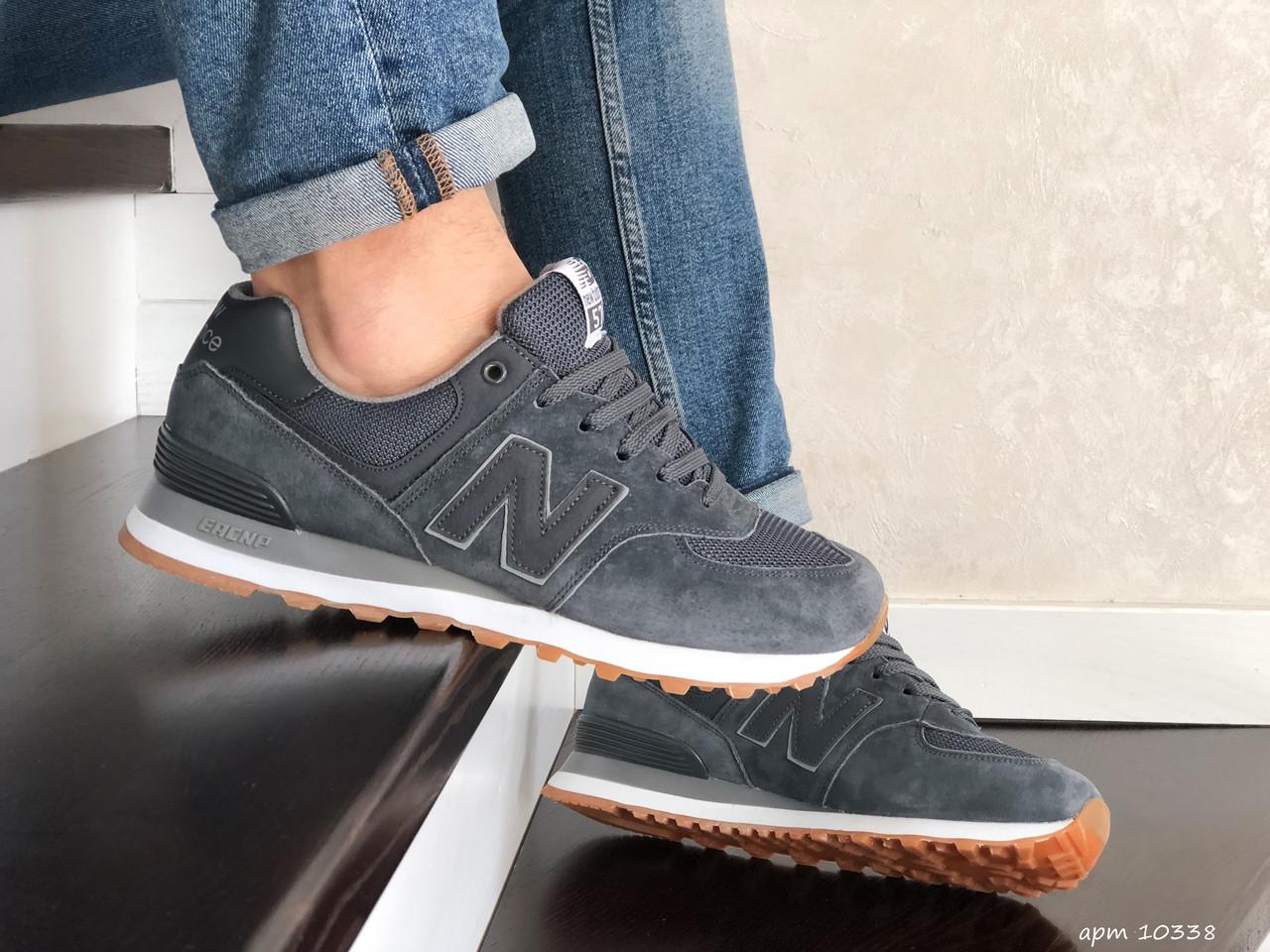 Мужские кроссовки New Balance 574 замшевые,серые