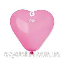 """Латексные воздушные шарики-сердца 6"""" пастель 06 розовый 100шт Gemar"""