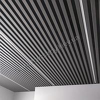 Реечный подвесной потолок (Комплект), кубообразная рейка 50х50мм, шаг 50мм, цвет RAL 7024 серый графит