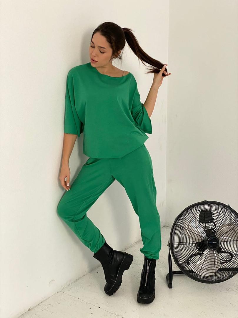 Женский спортивный костюм, турецкая двунить, р-р универсальный 42-46 (зелёный)