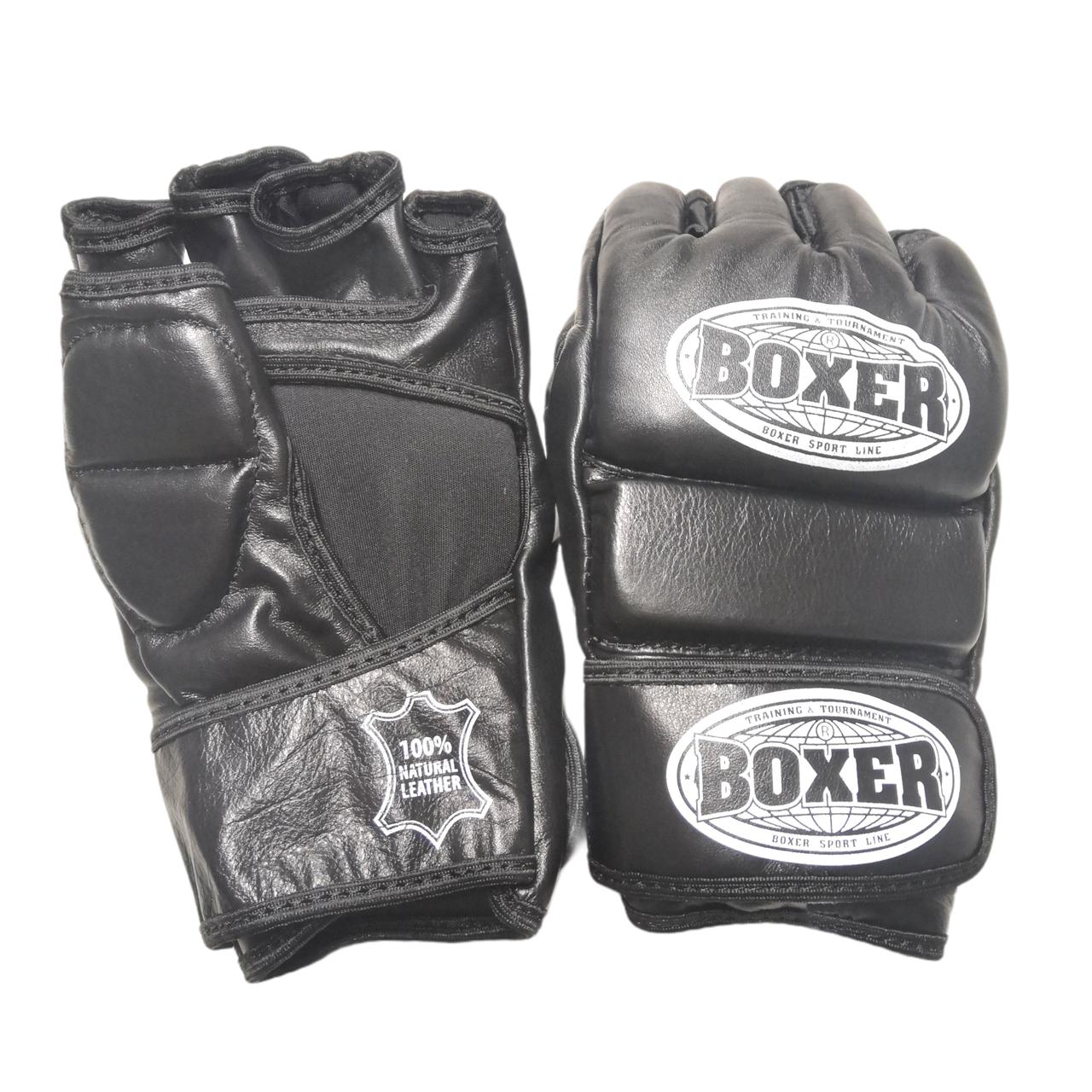Перчатки для смешанных видов единоборств ММА кожа черные XL, BOXER