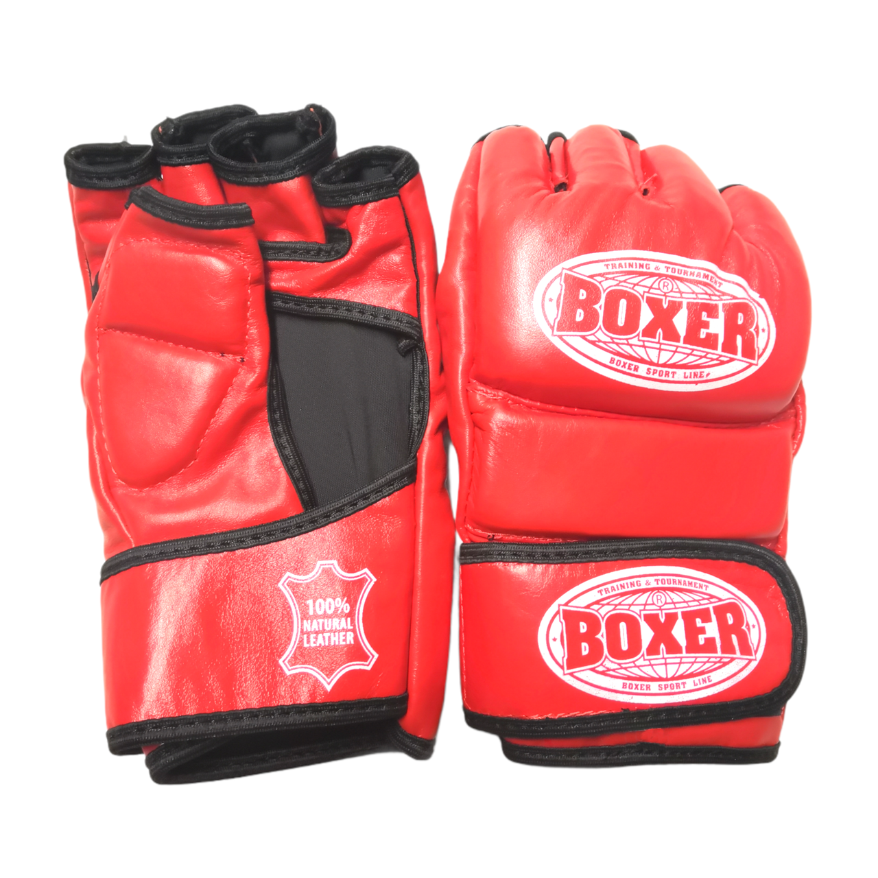 Рукавички для змішаних видів єдиноборств ММА шкіра червоні XL, BOXER
