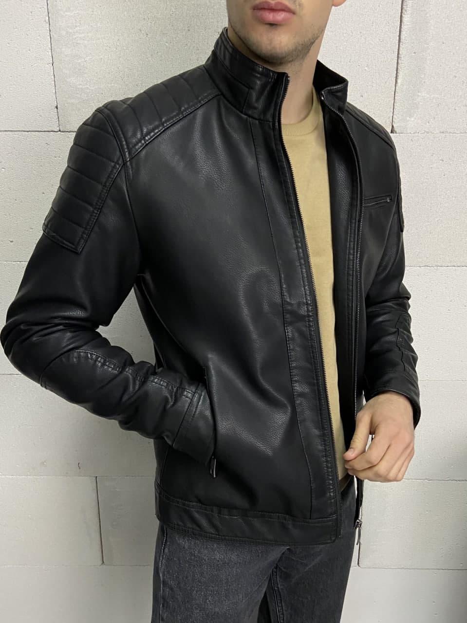 😜 Кожанка мужская черного цвета на осень / куртка шкірянка чоловіча чорна