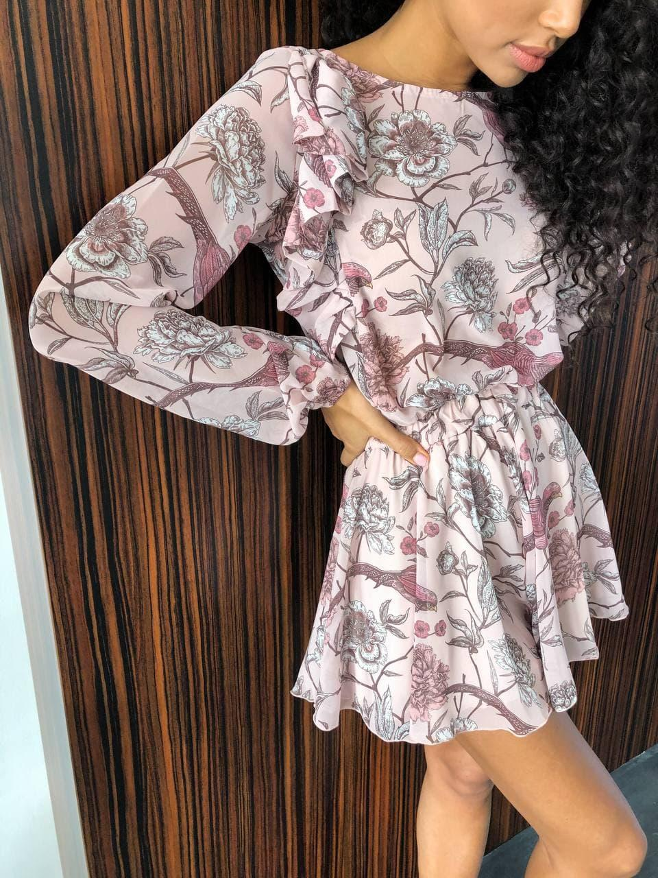 Короткий комбинезон в цветочном принте с юбкой - шортами трендовый (р. XS-L) 14ks1689
