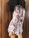 Короткий комбинезон в цветочном принте с юбкой - шортами трендовый (р. XS-L) 14ks1689, фото 4