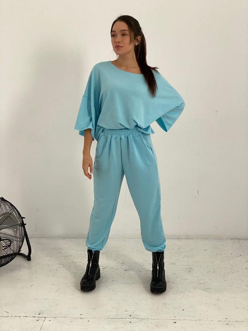 Жіночий спортивний костюм, турецька двунить, р-р універсальний 42-46 (блакитний)