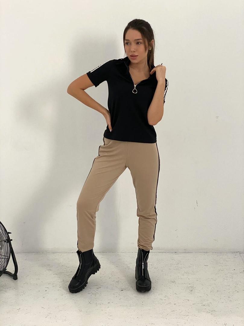 Жіночий спортивний костюм, турецька двунить, р-р 42-44; 46-48 (чорний+бежевий)