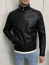 😜 Кожанка мужская черного цвета на осень / куртка шкірянка чоловіча чорна на сінь/весну