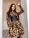 Платье - рубашка в леопардовый принтс черным кожаным корсетом на талии (р. 42-44) 5py2210, фото 6