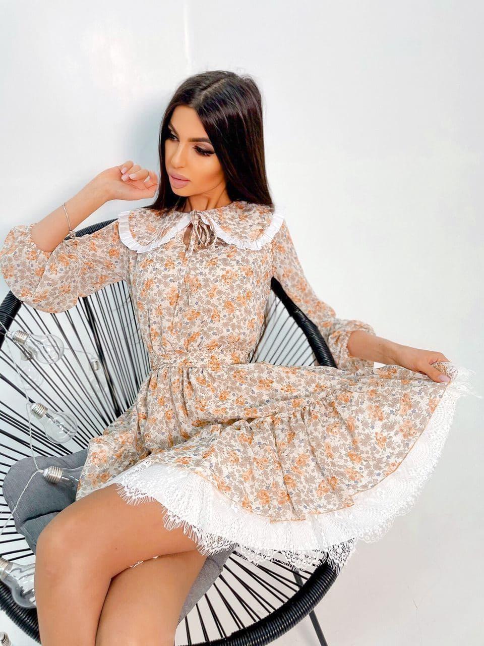 Шифонова сукня в квітковий принт з коміром і мереживом (р. S-M) 66ру2221Е