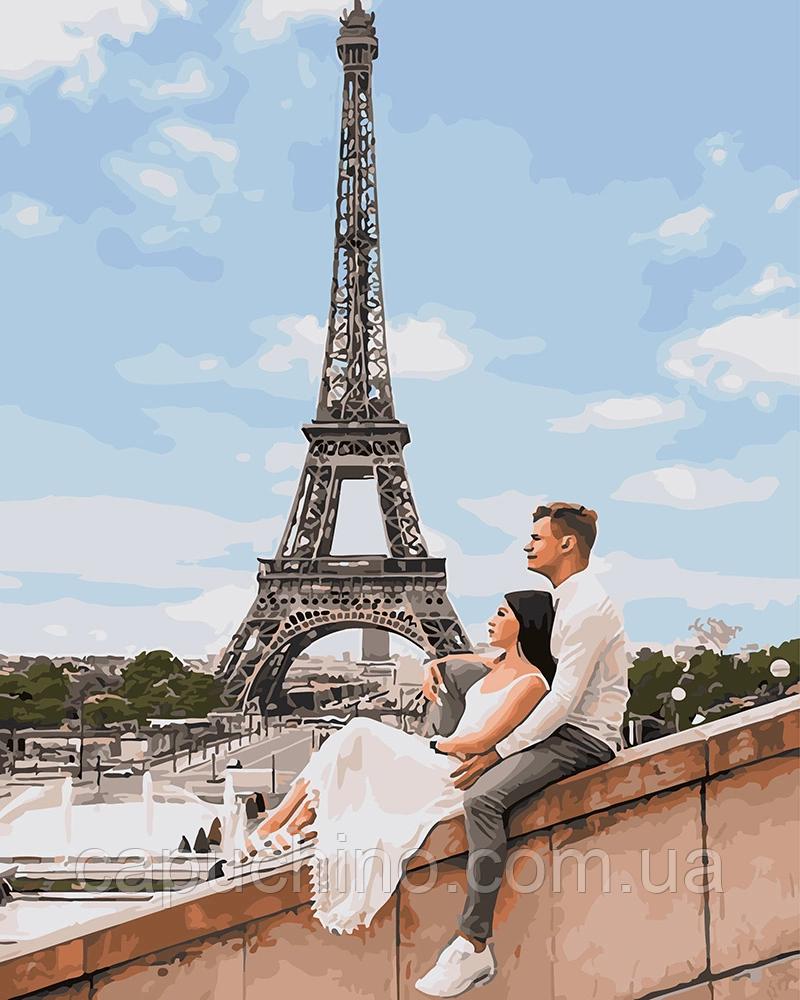 Картина рисование по номерам  Пара в Париже GX25455 40х50см набор для росписи, краски, кисти холст