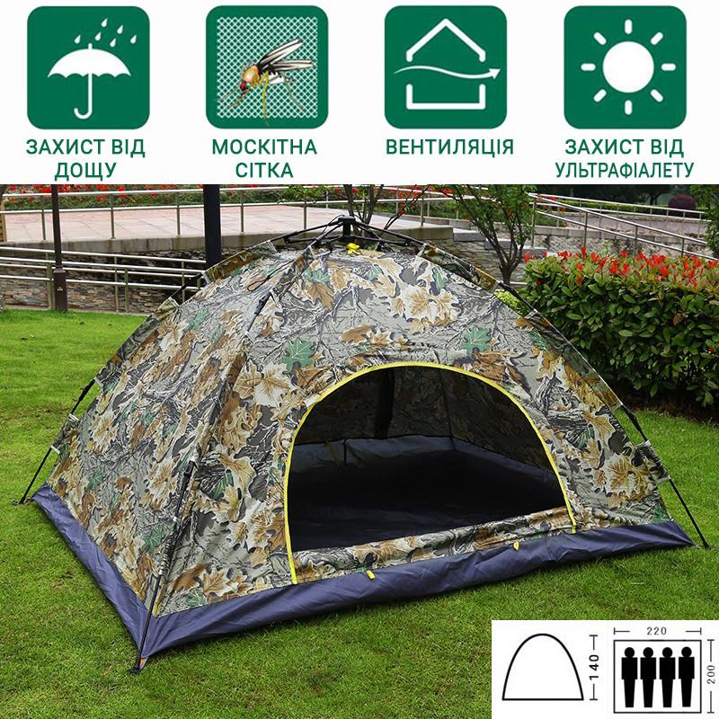 Палатка туристическая Автоматическая 4-х местная  водонепроницаемая с сеткой Камуфляж