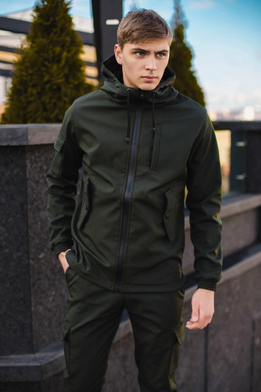 Чоловіча куртка Softshell хакі демісезонна Intruder. + Брендовий Ключниця в подарунок