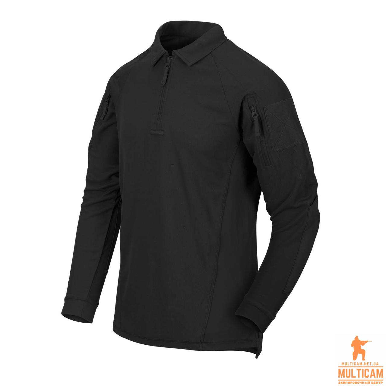 Термофутболка поло с длинным рукавом Helikon-Tex® RANGE Polo Shirt® - Black