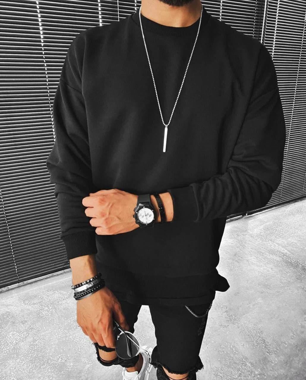 Світшот чоловічий oversize чорного кольору