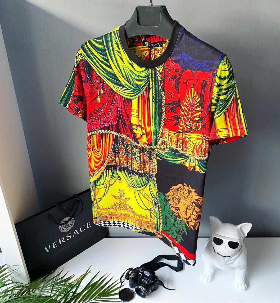 Мужская футболка Versace oversize цветная