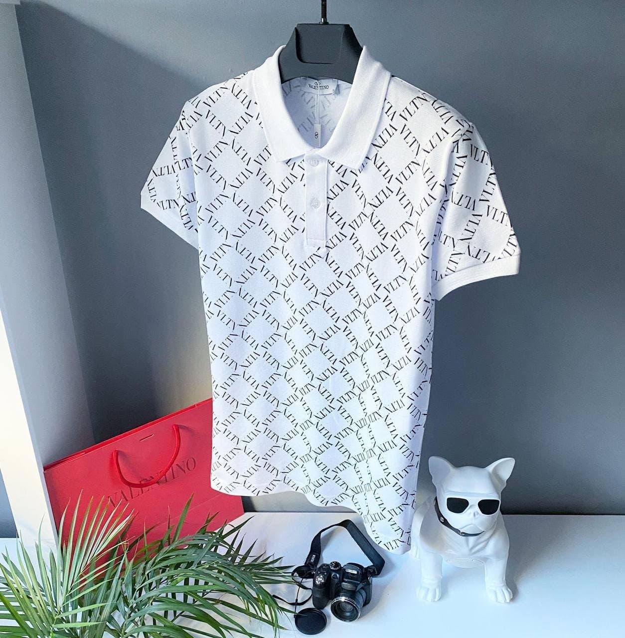 Чоловіча футболка-поло Valentino білого кольору