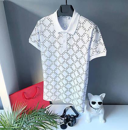 Чоловіча футболка-поло Valentino білого кольору, фото 2