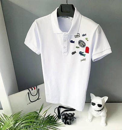 Мужская футболка-поло Lacoste белого цвета, фото 2
