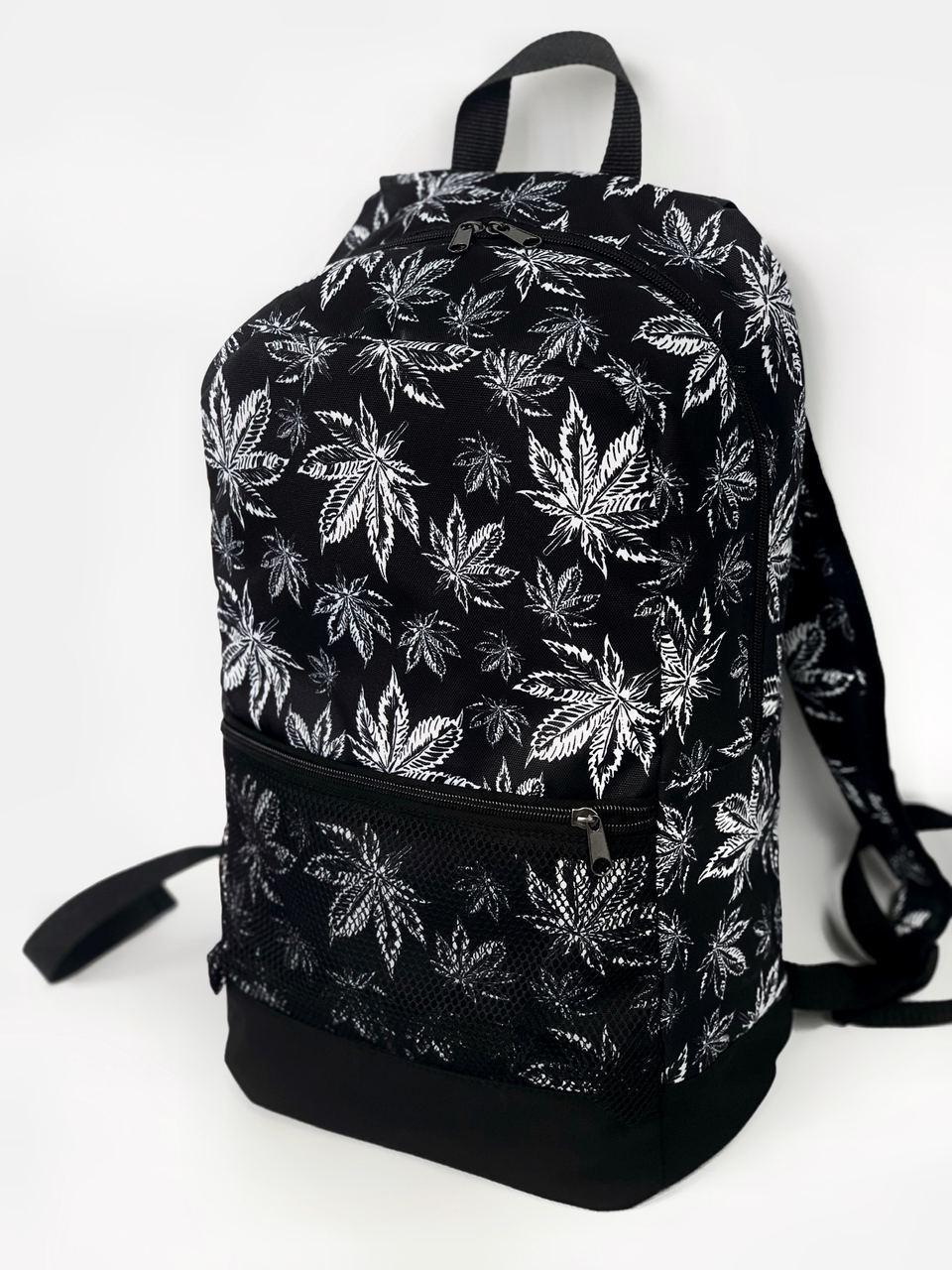 Рюкзак листочки Міський для ноутбука чорний-білий гербарій
