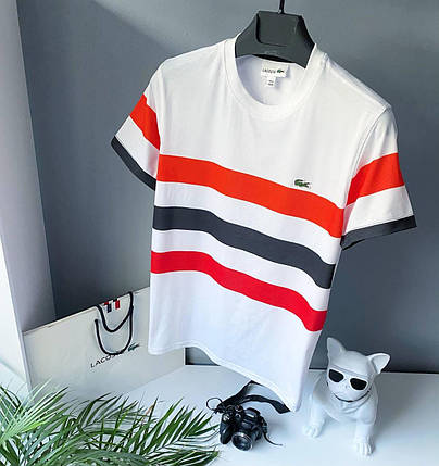 Чоловіча футболка Lacoste білого кольору з кольоровими смужками, фото 2