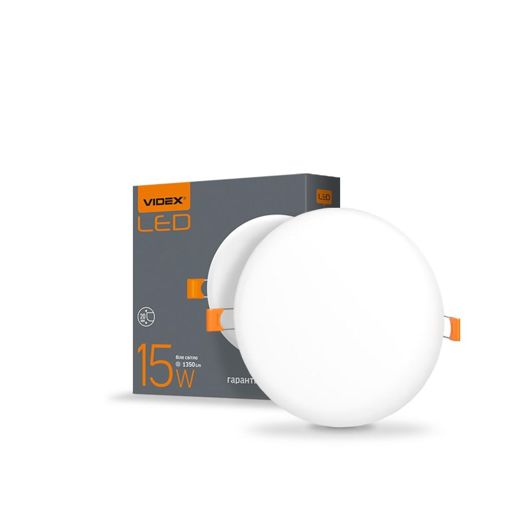 LED світильник безрамковий круглий VIDEX 15W 4100K VL-DLFR-154