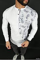 Мужская рубашка белая с принотом без воротника стильная классическая