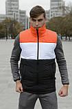 Жилетка мужская осенняя весенняя Intruder Brand 'Koloritna' оранжевая - белая - черная безрукавка, фото 2