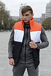 Жилетка мужская осенняя весенняя Intruder Brand 'Koloritna' оранжевая - белая - черная безрукавка, фото 3