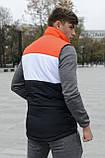 Жилетка мужская осенняя весенняя Intruder Brand 'Koloritna' оранжевая - белая - черная безрукавка, фото 5