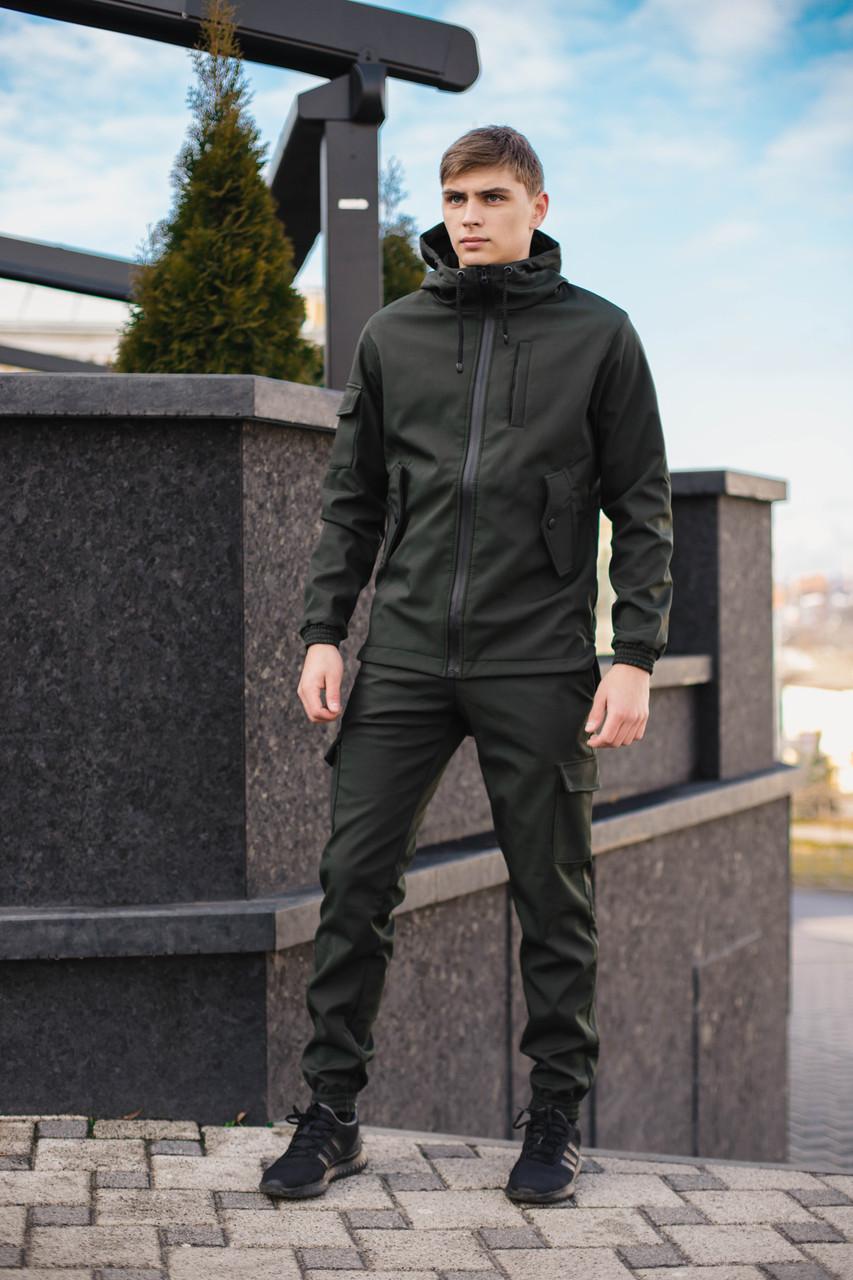 Мужской костюм Softshell хаки демисезонный Intruder. Куртка мужская , штаны утепленные + Ключница