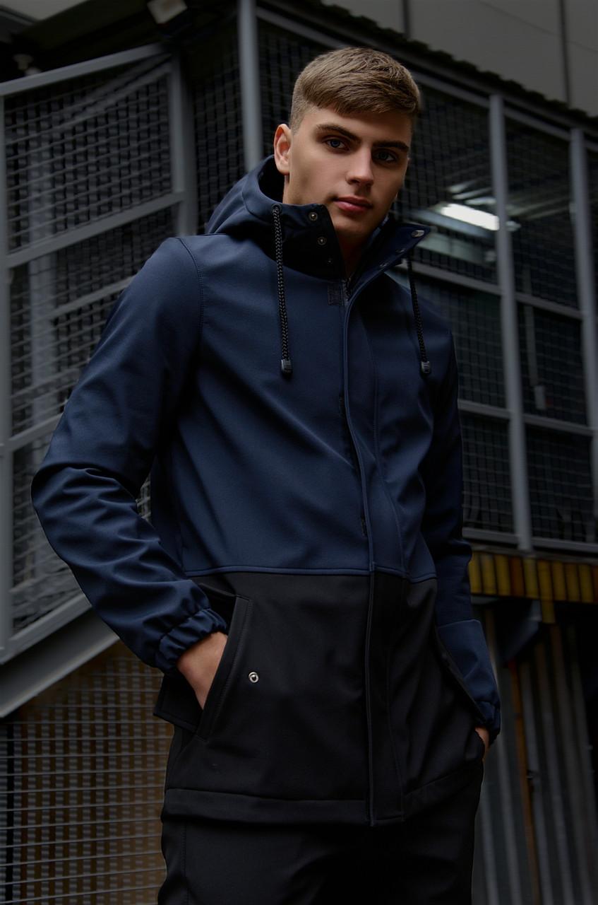 """Куртка мужская синяя черная Softshell демисезонная """"Citizen"""" Intruder осенняя весенняя на флисе+Ключница"""