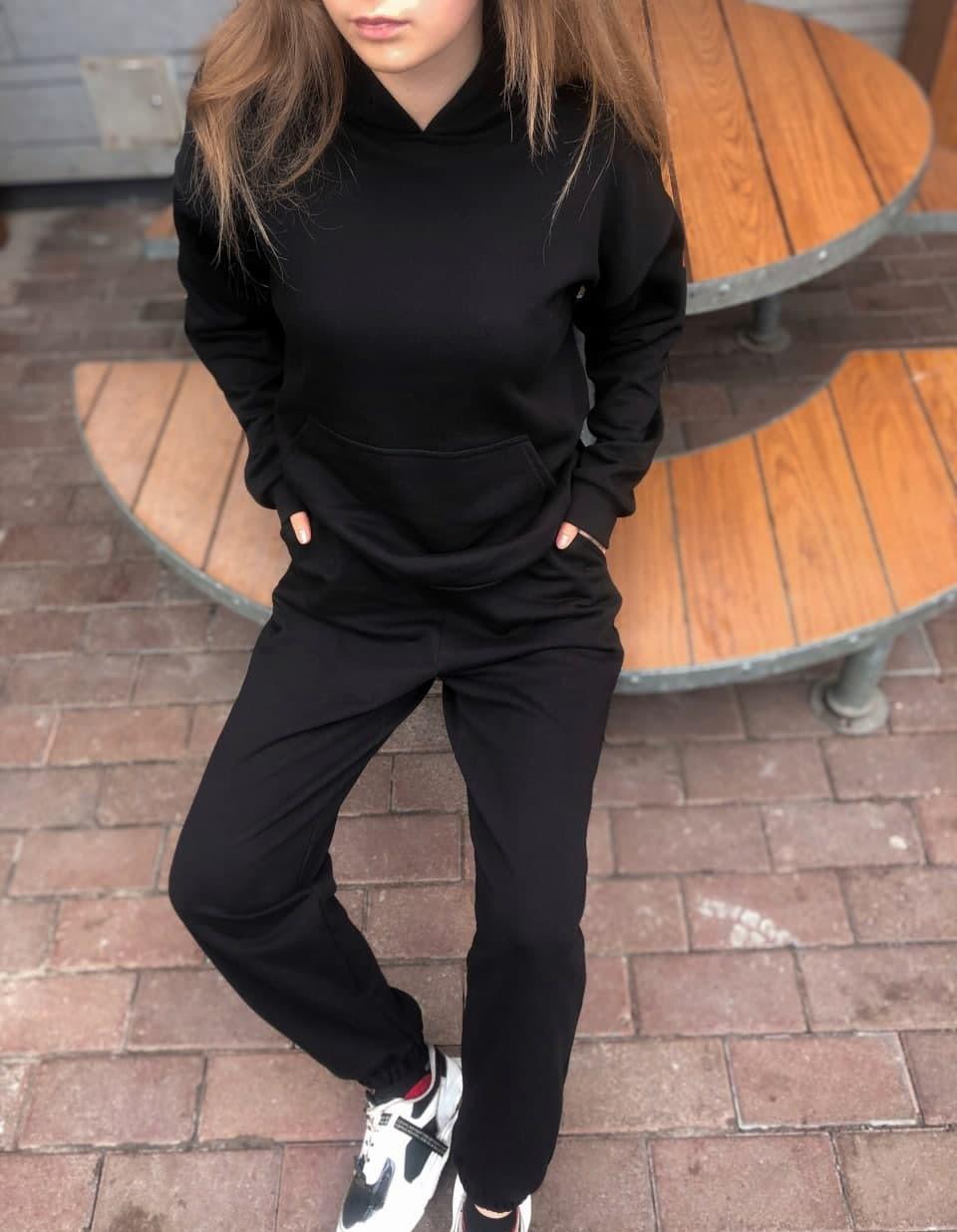 Женский спортивный костюм трикотаж оверсайз Турция весна осень черный. Живое фото