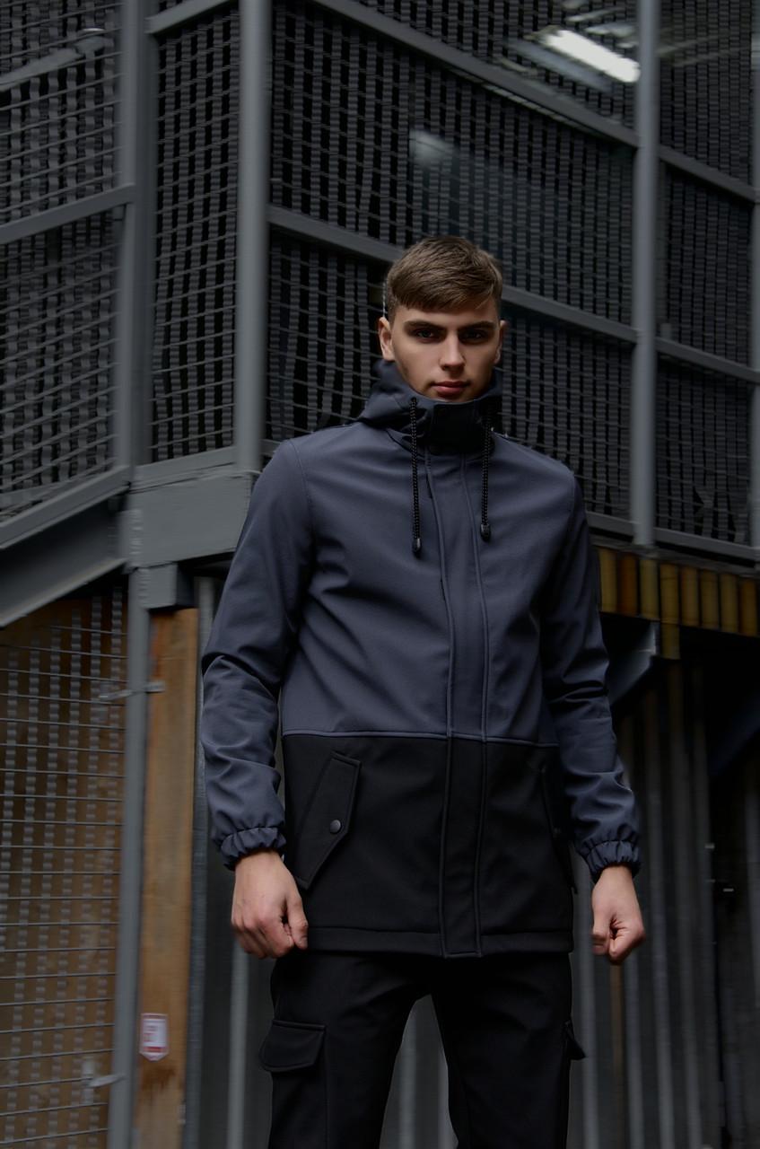 """Куртка мужская серая черная Softshell демисезонная """"Citizen"""" Intruder осенняя весенняя на флисе+Ключница"""