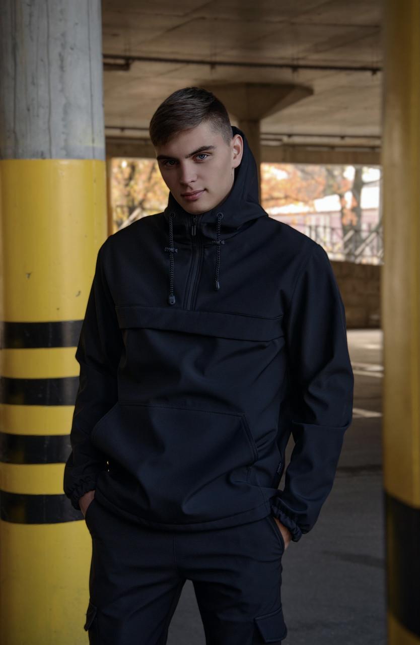 Куртка анорак чоловіча осіння чорна Softshell Walkman демісезонна весняна Intruder+Ключниця в подарунок