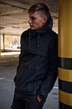 Куртка анорак чоловіча осіння чорна Softshell Walkman демісезонна весняна Intruder+Ключниця в подарунок, фото 3