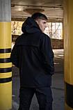 Куртка анорак чоловіча осіння чорна Softshell Walkman демісезонна весняна Intruder+Ключниця в подарунок, фото 8