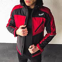 "Мужская куртка Pobedov Jacket ""Round"" бордово-черного цвета, фото 2"