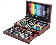 Набор для творчества 123 предмета в деревянном чемодане | Детский набор для рисования | Набор юного художника