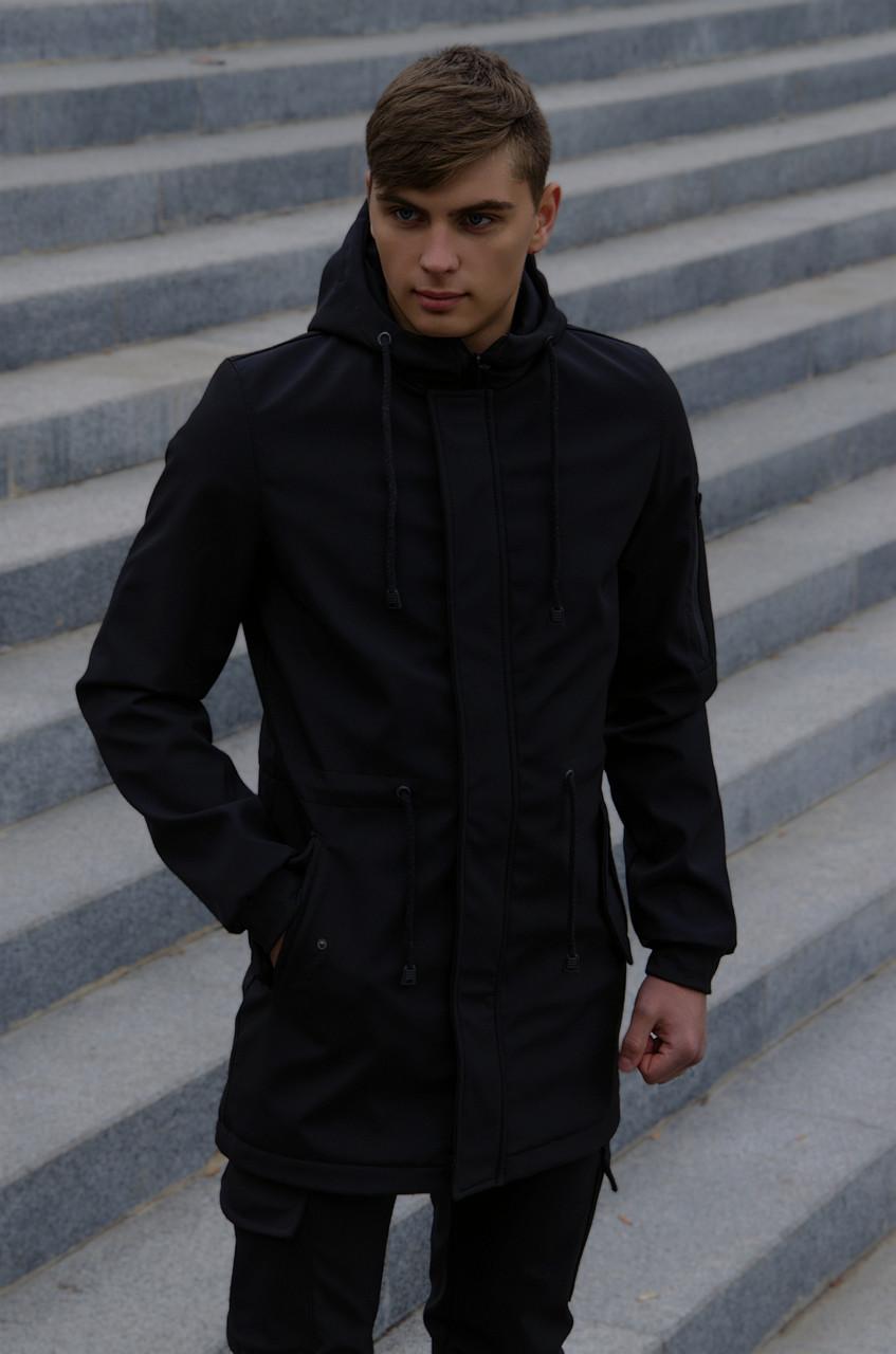 Куртка Softshell V2.0 чоловіча чорна демісезонна Intruder. + Ключниця в подарунок