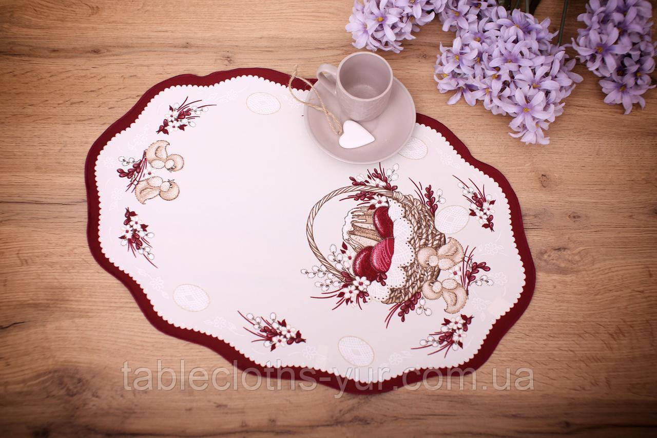 Салфетка Великодня 33-48 «Пасхальний Кошик» Червоний візерунок Бежева
