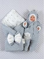 """Демисезонный комплект на выписку для новорожденного """"Стиляжка"""" Lari (конверт, шапочка, человечек) ВЕСНА/ОСЕНЬ"""