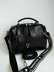 Кожаная  сумка  бочонок чёрная