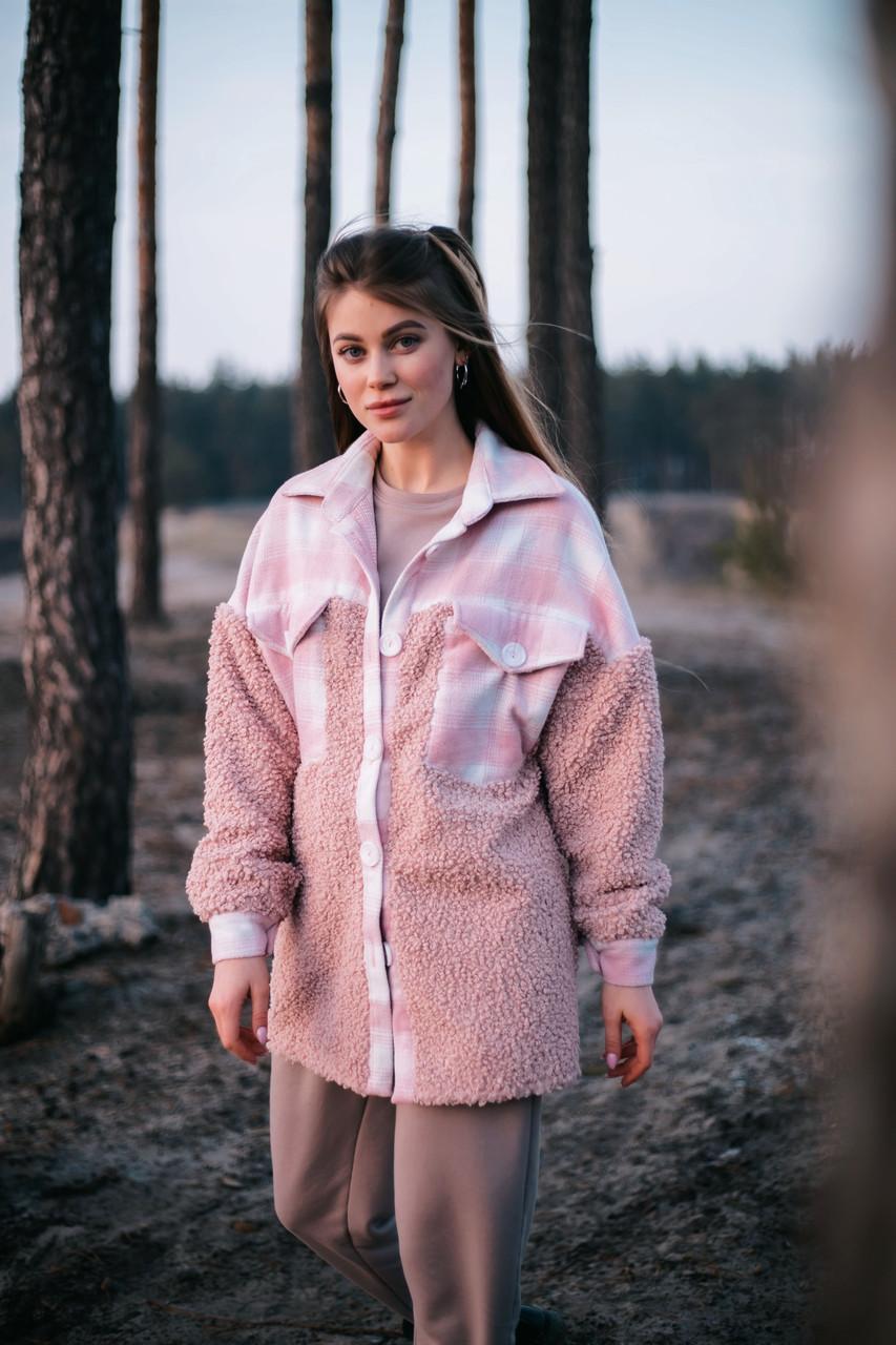 Сорочка жіноча 'Shon' Oversize еко-хутро баранчика весняна   осіння   річна від Intruder рожева
