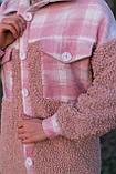 Сорочка жіноча 'Shon' Oversize еко-хутро баранчика весняна   осіння   річна від Intruder рожева, фото 3