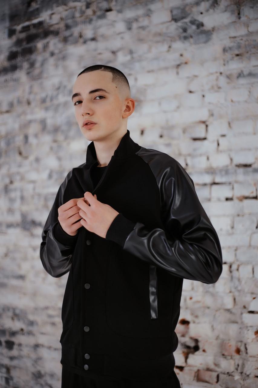 Бомбер чоловічий шкіра Весняний / Осінній 'Re-Balance' Intruder чорний осіння куртка