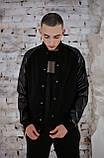 Бомбер чоловічий шкіра Весняний / Осінній 'Re-Balance' Intruder чорний осіння куртка, фото 2