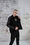 Бомбер чоловічий шкіра Весняний / Осінній 'Re-Balance' Intruder чорний осіння куртка, фото 4