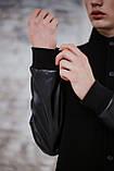 Бомбер чоловічий шкіра Весняний / Осінній 'Re-Balance' Intruder чорний осіння куртка, фото 5